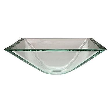 Elements of Design Glass Square Vessel Bathroom Sink