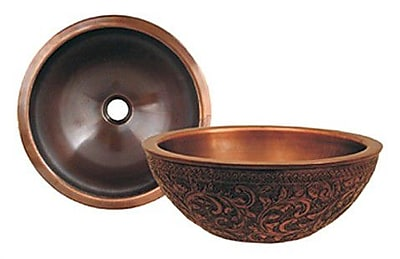 Whitehaus Collection Copperhaus Metal Circular Vessel Bathroom Sink; Smooth Copper