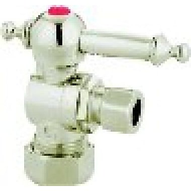 Elements of Design Decorative Quarter Turn Valves w/ Templeton Lever Handles; Satin Nickel