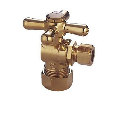 Elements of Design Accents Decorative Quarter Turn Valves w/ Cross Handles; Polished Brass