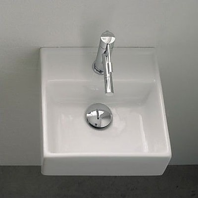 Scarabeo by Nameeks Teorema Ceramic 12'' Wall Mount Bathroom Sink w/ Overflow