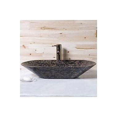 Allstone Group Oval Vessel Bathroom Sink; Tan Brown Granite