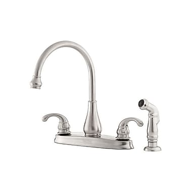 Pfister Treviso Double Handle Deck Mounted Kitchen Faucet w/ Side Spray; Stainless Steel