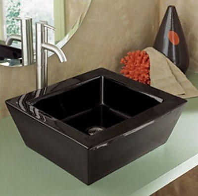 DecoLav Kloey Classically Redefined Ceramic Rectangular Vessel Bathroom Sink w/ Overflow; Black