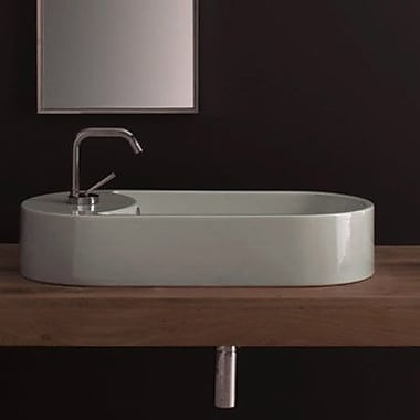Scarabeo by Nameeks Seventy Ceramic Oval Vessel Bathroom Sink w/ Overflow