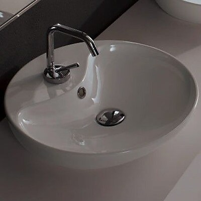 Scarabeo by Nameeks Ceramic Circular Vessel Bathroom Sink w/ Overflow