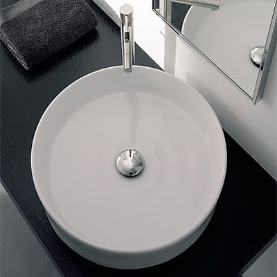 Scarabeo by Nameeks Geo Ceramic Circular Vessel Bathroom Sink