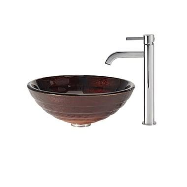 Kraus Iris Glass Circular Vessel Bathroom Sink; Chrome