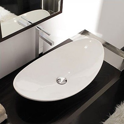 Scarabeo by Nameeks Zefiro Ceramic Oval Vessel Bathroom Sink