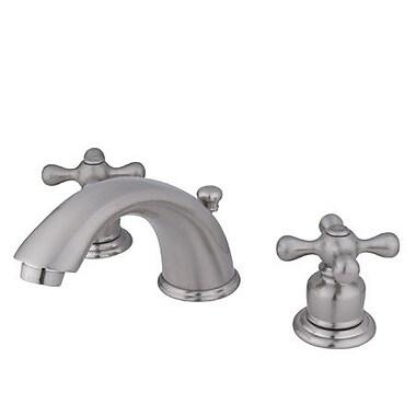 Elements of Design Magellan Widespread Bathroom Faucet w/ Double Cross Handles; Satin Nickel