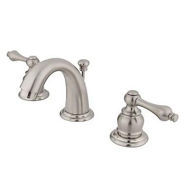Elements of Design Mini Widespread Bathroom Faucet w/ Double Lever Handles; Satin Nickel