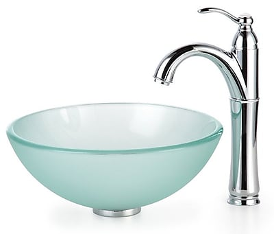 Kraus Frosted Glass Circular Vessel Bathroom Sink w/ Faucet; Satin Nickel