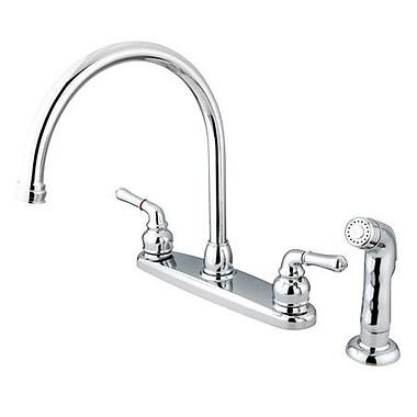 Kingston Brass Magellan Double Handle Kitchen Faucet w/ Non-Metallic Side Spray; Polished Chrome