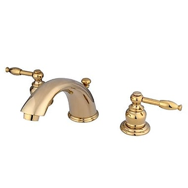 Kingston Brass Magellan Double Handle Widespread Bathroom Faucet w/ ABS Pop-Up Drain; Polished Brass