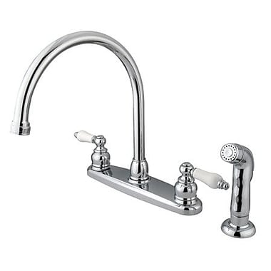 Kingston Brass Vintage Double Handle Goose Neck Kitchen Faucet w/ Spray; Polished Chrome