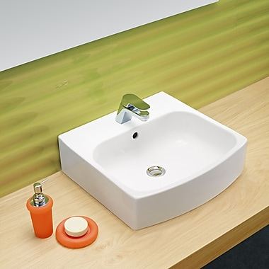 Bissonnet Universal Ceramic Rectangular Vessel Bathroom Sink w/ Overflow