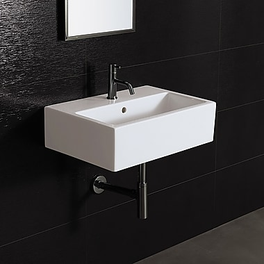 Bissonnet Area Boutique 23'' Wall Mounted Bathroom Sink w/ Overflow; Single Hole