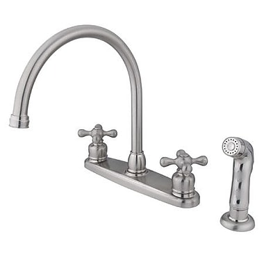 Kingston Brass Vintage Double Handle Goose Neck Kitchen Faucet w/ Spray; Satin Nickel