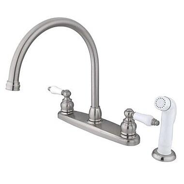 Kingston Brass Vintage Double Handle Kitchen Faucet w/ Side Spray; Satin Nickel