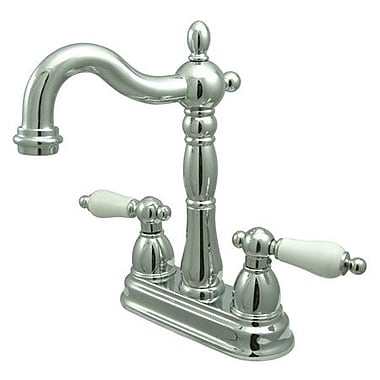 Kingston Brass Heritage Double Handle Centerset Bar Faucet; Polished Chrome