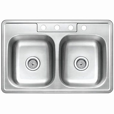 Kingston Brass Studio 22'' x 33'' Gourmetier Self-Rimming Double Bowl Kitchen Sink