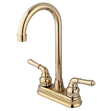Kingston Brass Magellan Double Handle Bar Faucet; Polished Brass
