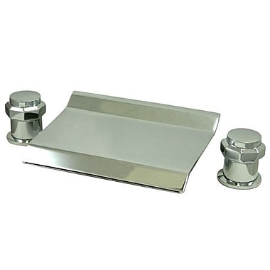 Elements of Design Double Handle Deck Mount 20'' Water Fall Roman Tub Faucet Trim; Satin Nickel