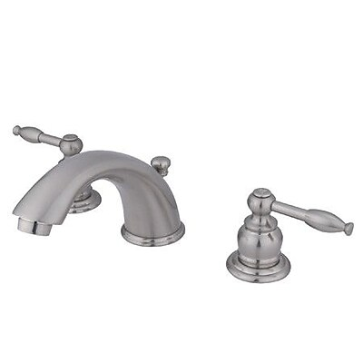 Kingston Brass Magellan Widespread Bathroom Faucet w/ ABS Pop-Up Drain; Satin Nickel