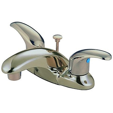Kingston Brass Legacy Double Handle Centerset Bathroom Faucet w/ ABS Pop-Up Drain; Satin Nickel