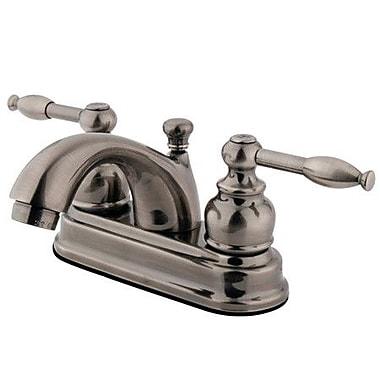 Kingston Brass Knight Double Handle Centerset Bathroom Faucet w/ ABS Pop-Up Drain; Vintage Nickel