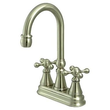 Kingston Brass Governor Double Handle Centerset Bar Faucet; Satin Nickel