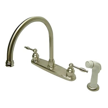 Kingston Brass Knight Double Handle Goose Neck Kitchen Faucet; Satin Nickel