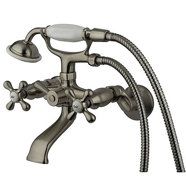 Kingston Brass Victorian Double Handle Tub Mount Clawfoot Tub Faucet; Satin Nickel