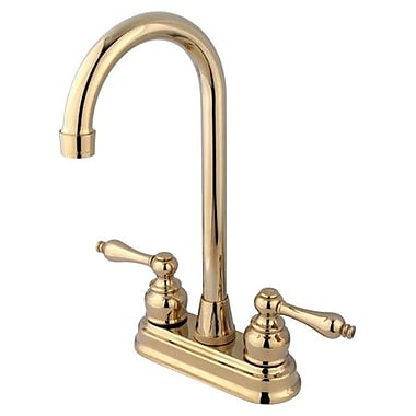 Kingston Brass Victorian Double Handle Kitchen Faucet; Polished Brass