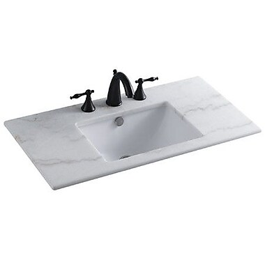 Elements of Design Forum Ceramic Rectangular Undermount Bathroom Sink w/ Overflow; White
