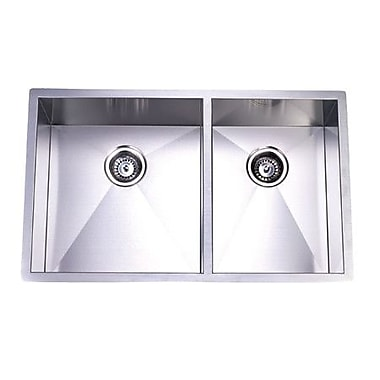 Kingston Brass Gourmetier 20.06'' x 33'' Stainless Steel Double Bowl Undermount Kitchen Sink