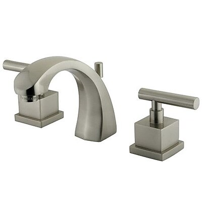 Kingston Brass Claremont Widespread Bathroom Faucet w/ Brass Pop-Up Drain; Satin Nickel