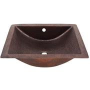 The Copper Factory Concave Rectangular Undermount Bathroom Sink w/ Overflow; Antique Copper