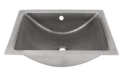 The Copper Factory Concave Metal Rectangular Undermount Bathroom Sink w/ Overflow; Satin Nickel