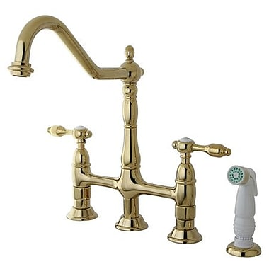 Kingston Brass Tudor Double Handle Widespread Kitchen Faucet w/ Spray; Polished Brass
