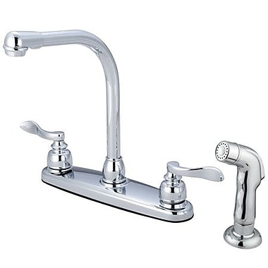 Kingston Brass NuWave Double Handle Kitchen Faucet; With Spray