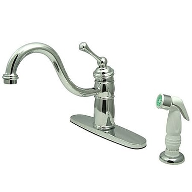 Kingston Brass Victorian Single Handle Kitchen Faucet w/ Non-Metallic Sprayer; Polished Chrome