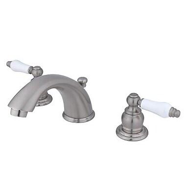 Kingston Brass Magellan Double Handle Widespread Bathroom Faucet w/ ABS Pop-Up Drain; Satin Nickel