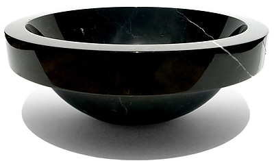 D'Vontz Natural Stone Sinks Stone Circular Vessel Bathroom Sink; Shanxi Black Granite