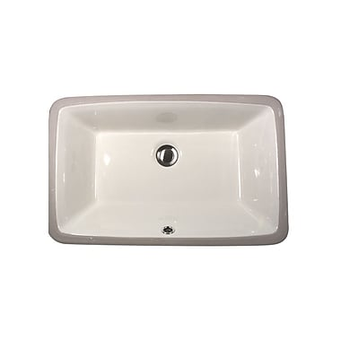 Nantucket Sinks Great Point Rectangular Undermount Bathroom Sink w/ Overflow; Bisque