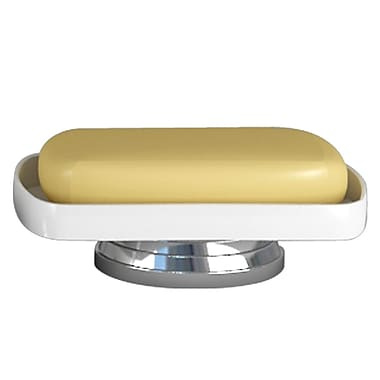 NU Steel Sag Harbor Soap Dish; Chrome with White