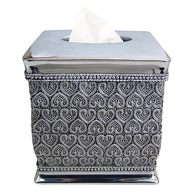 NU Steel Beaded Heart Boutique Tissue Box Cover