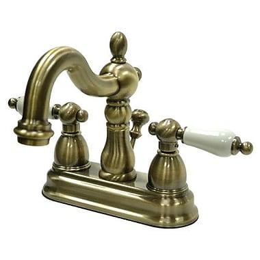 Kingston Brass Heritage Centerset Bathroom Faucet w/ ABS Pop-Up Drain; Vintage Brass