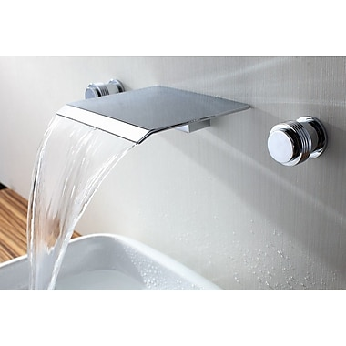 Sumerain Double Handle Wall Mount Waterfall Bathroom Sink Faucet