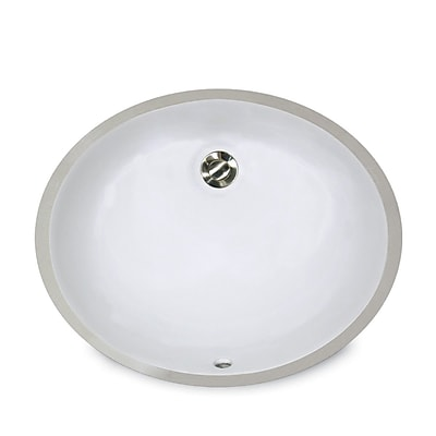 Nantucket Sinks Great Point Ceramic Oval Undermount Bathroom Sink w/ Overflow; Biscuit